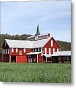 Stately Red Barn With Elongated Clerestory Cupola Metal Print by John Stephens
