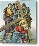 Station Vii Jesus Falls Under The Cross The Second Time Metal Print