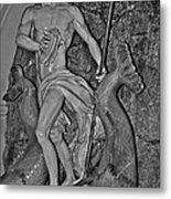 Statue 17 Black And White Metal Print