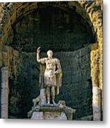 Statue De L'empereur Auguste Dans Le Theatre D'orange. Metal Print by Bernard Jaubert