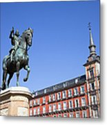 Statue Of King Philip IIi At Plaza Mayor Metal Print