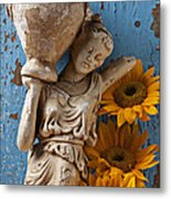 Statue Of Woman With Sunflowers Metal Print
