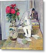 Statuette By Maillol And Red Roses Metal Print