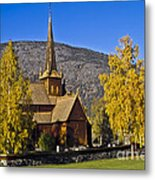 Stave Church In Lom Metal Print