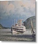 Steamboats On Newburgh Bay William G Muller Metal Print by Jake Hartz