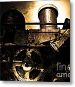 Steampunk Railway Transcontinental Line . Where Steam Is Still King . Gold Version Metal Print by Wingsdomain Art and Photography