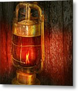 Steampunk - Red Light District Metal Print
