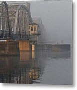 Steel Bridge In Fog - Vertical Metal Print