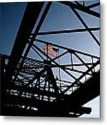 Steel Bridge With American Flag Metal Print