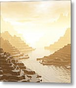 Misted Mountain River Passage Metal Print