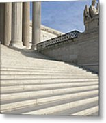 Steps And Statue Of The Supreme Court Building Metal Print by Roberto Westbrook
