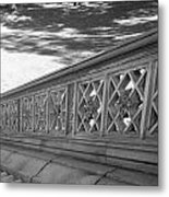 Steps Of Central Park In Black And White Metal Print
