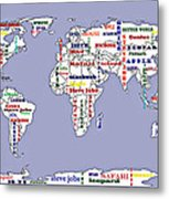 Steve Jobs Apple World Map Digital Art Metal Print