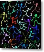 Stickmen Characters Aglow With Color Metal Print