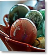 Still Life Crosses Reflected In Bowl Of Glass Marbles Art Prints Metal Print