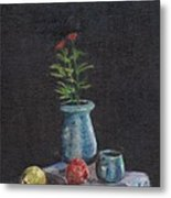 Still Life Flowers And Fruit Metal Print