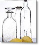 Still Life Of Bottles  And Lemons Metal Print