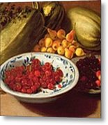 Still Life Of Cherries - Marrows And Pears Metal Print