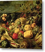 Still Life Of Fruits And Vegetables Metal Print