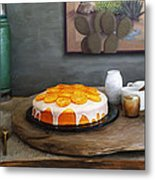 Still Life With Cake And Cactus Metal Print