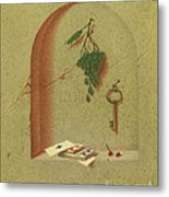 Still Life With Cards And Grapes Metal Print