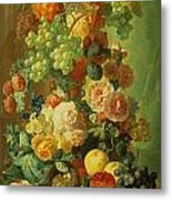 Still Life With Fruit And Flowers Metal Print