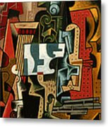 Still Life With Matchbox And Violin Metal Print