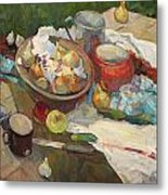 Still Life With Onions And Cucumbers Metal Print