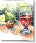Still Life With Red Wine Glass Metal Print