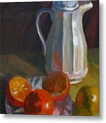 Still Life With White Carafe And Oranges Metal Print
