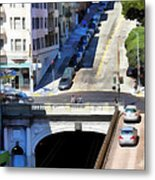 Stockton Street Tunnel In Hilly San Francisco . 7d7499 Metal Print by Wingsdomain Art and Photography