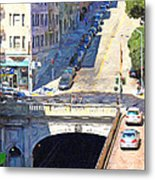Stockton Street Tunnel Midday Late Summer In San Francisco Metal Print