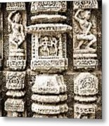 Stone Carvings In An Indain Temple Metal Print