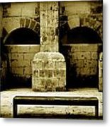 Stone Face - Limestone Windows Column And Bank Create A Misterious Face Metal Print