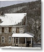 Stone Farmhouse In Snow Metal Print by John Stephens