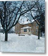 Stone Farmhouse In Winter Metal Print