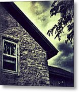 Stone House In Storm Metal Print