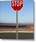 Stop Sign In The Desert Metal Print by Paul Edmondson