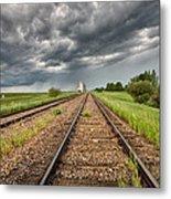 Storm Clouds Over Grain Elevator Metal Print