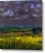 Storm Clouds Over Meadow Metal Print