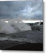 Storm On Black Beach Metal Print