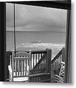 Storm-rocked Beach Chairs Metal Print
