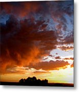 Stormy Sunset Over A Tree Canopy Metal Print