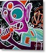 Strange Graffiti Creature Eating Sausages Metal Print