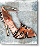 Strappy Striped Sandal Metal Print