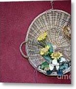 Straw Basket With Flowers Metal Print