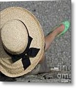 Straw Hat And Green Shoes Metal Print