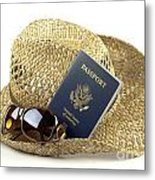 Straw Hat With Glasses And Passport Metal Print