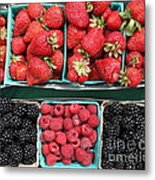 Strawberries Blackberries Rasberries - 5d17809 Metal Print by Wingsdomain Art and Photography
