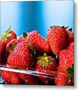 Strawberries In A Plastic Sale Box  Metal Print